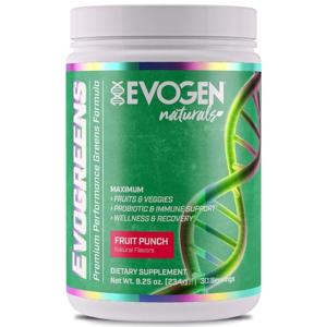 Evogen Evogreens Naturals, 6 druhů superpotravin, adaptogenů a probiotik Fruit Punch (ovocný punč), 234g