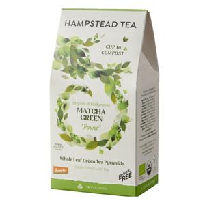 Hampstead Tea London BIO Demeter Sypaný zelený čaj s Matchou v kompostovatelných pyramidách, 15ks *GB-ORG-06 Certifikát