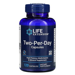 Life Extension Two Per Day multivitamín, 120 kapslí