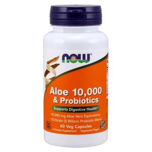 NOW® Foods NOW Aloe 10000 & Probiotics (aloe vera s probiotiky), 60 rostlinných kapslí