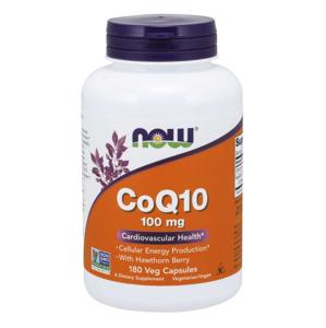 NOW® Foods NOW CoQ10 (koenzym Q10) + Hawthorn Berry (hloh), 100 mg, 180 rostlinných kapslí