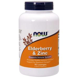 NOW® Foods NOW Elderberry & Zinc (bezinka, zinek a vitamín C), 90 pastilek