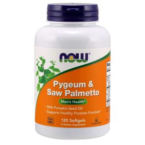 NOW® Foods NOW Pygeum (Slivoň africká) & Saw Palmetto (Serenoa plazivá), 120 softgelových kapslí