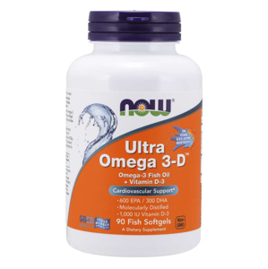 NOW® Foods NOW Ultra omega-3 s vitaminem D, 90 softgelových kapslí
