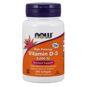 NOW® Foods NOW Vitamin D3, 2000 IU, 240 softgel kapslí
